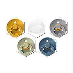 Bibs fopspeen set van 4 kleuren jongens en meisjes, maat 2 voor 6-18 maanden, natuurlijk rubber, incl. fopspeen doos door JJLS *