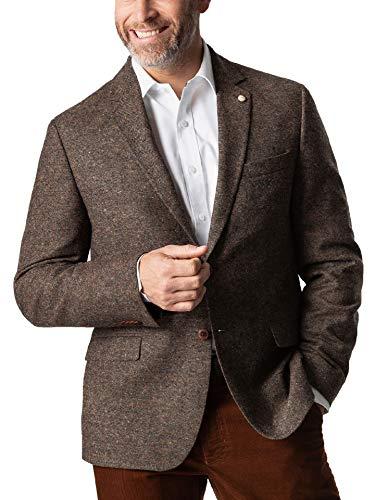 Walbusch Herren Donegal Tweed Sakko Herbstlaub einfarbig braun 52