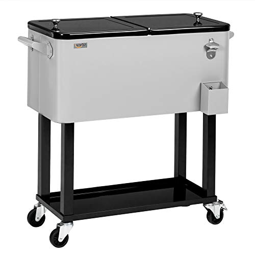 VINGLI 80 Quart Rolling Ice Chest, with Shelf, Beverage Pool with Bottle Opener,Portable Patio Party Bar Drink Cooler,Grey