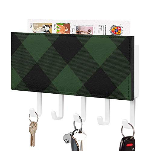 Key Holder for Wall, Buffalo Check Celtic Green and Black Squares Plaid PU Wall Mounted Mail Sorter Organizer with 5 Key Hooks, Wall Decorative Key Rack Hangers for Storage, Hallway, Office