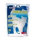 Happet Litière aux Cristaux de silice 3,8L (1 Mois) agglomérante, Ultra absorbante Silkitty pour Chat - Q111
