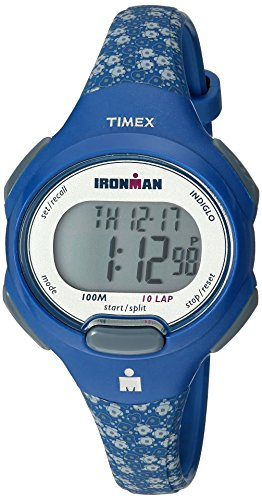 Timex Women's TW5M07100 Ironman Essential 10 Mid-Size Blue Floral Resin Strap Watch