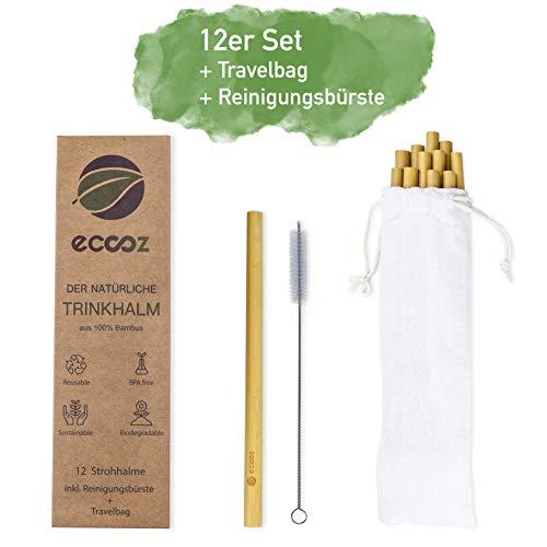 eccoz 12er Pack Bambus Strohhalme + TRAVELBAG + Reinigungsbürste | wiederverwendbar nachhaltig | umweltfreundliche Trinkhalme für Cocktails Smoothies Saft | Spülmaschinenfest | BPA frei