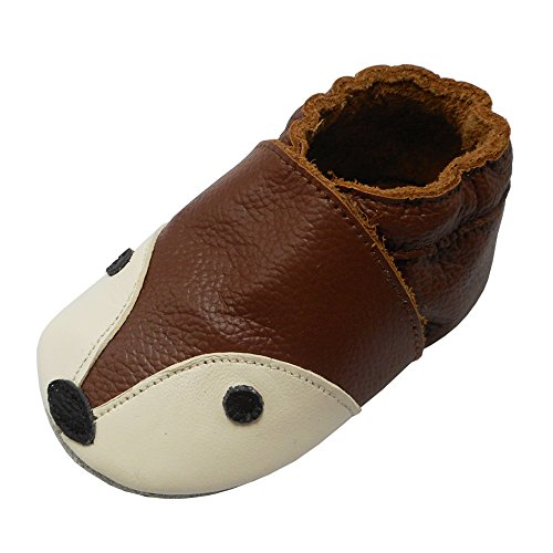 YIHAKIDS Weiche Krabbelschuhe Babyschuhe Lauflernschuhe Lederschuhe Hausschuhe Mehrfarben (Braun,12-18 Monate,23 EU)