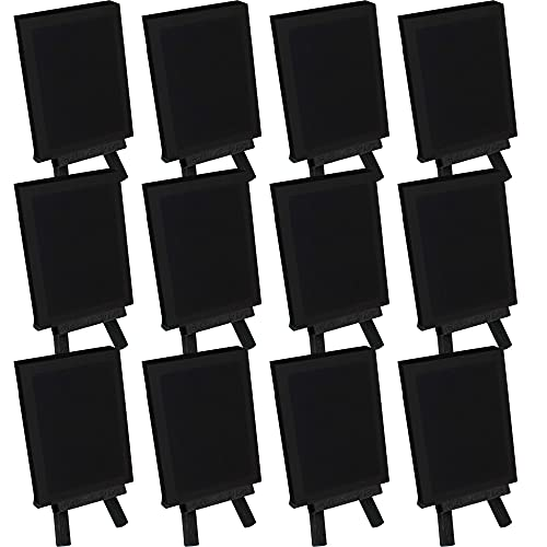 U.S. Art Supply 3' x 4' Stretched Canvas with 5' Mini Black Wood Display Easel Kit (Pack of 12), Artist Tripod Tabletop Holder Stand - Painting Party, Kids Crafts, Oil Acrylic Paints, Signs, Photos