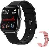 Smartwatch für Damen, Full Touch, Fitness-Tracker, 7 Tage Batterielebensdauer, wasserdicht, Smartwatch für Herren, Farbe: Schwarz, mit 3 Bändern