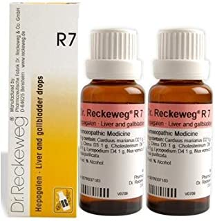 2 Lots X Dr.Reckeweg R7 - Liver and Gallbladder Drops - Homeopathic Medicine Natural Remedies, 22ml