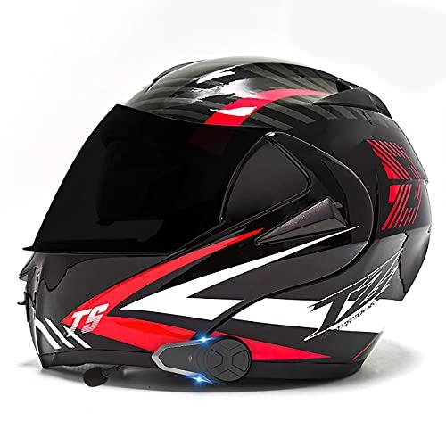 Casco de motocicleta Bluetooth, casco de motocicleta integrado modular,casco integral ligero, casco de crucero con intercomunicador FM MP3 incorporado certificación ECE/DOT B,L=59-60CM