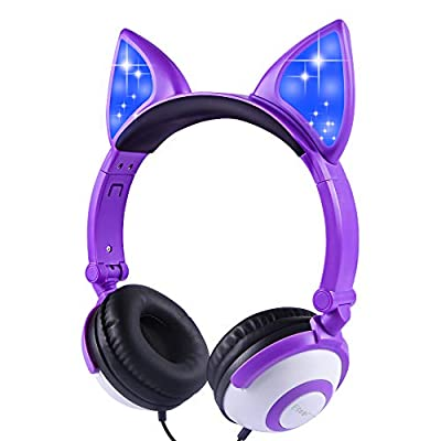 Kids Headphones Over Ear with LED Glowing Cat Ears,Safe Wired Kids Headsets 85dB Volume Limited, Food Grade Silicone, 3.5mm Aux Jack, Cat-Inspired Purple Headphones for Girls (Cat Ear-Purple) by esonstyle