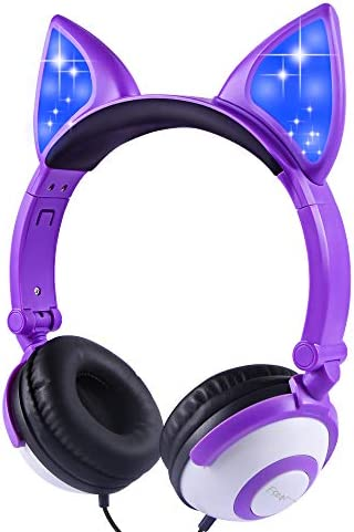 Esonstyle Kids Headphones Purple Kids LED Light Headband Earphone Foldable Over On Ear Game Headset for Toddlers Travel Birthday Gifts (Purple+ White)