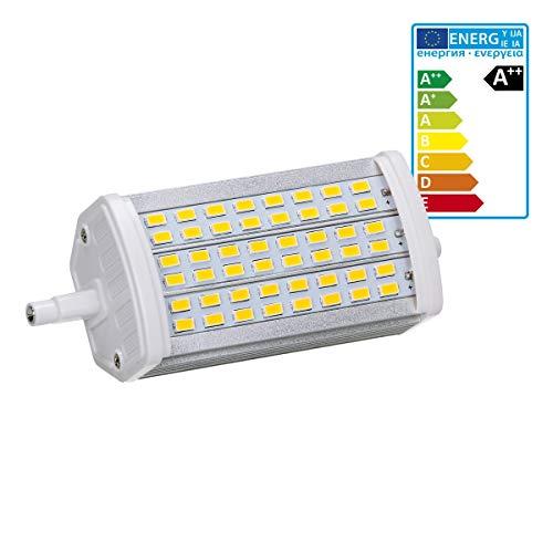 ECD Germany 1er Pack R7S LED Leuchtmittel 15W - 118mm - 800 Lumen - SMD5730 - AC 220-240V - 180° Abstrahlwinkel - ersetzt 90W Halogenbirne - Warmweiß 3000K - Dimmbar - Halogen Stab Flutlicht
