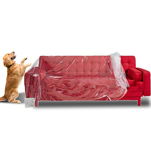 MAIQIU 2PCS Plastic Sofa Cover, Furniture Cover Plastic Storage Bag Heavy Duty Water and dustproof Resistant Sofa Slipover Bed Sofa Couch Furniture Protection Covers for Storage and Moving, 2X3m