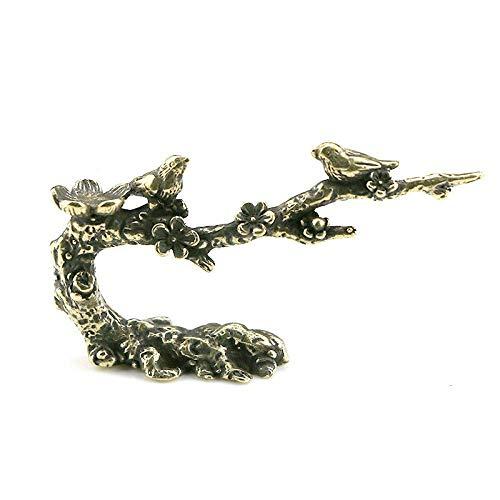 ZWWZ Antike Kupfer-Magster Plum-Blüten-Stifthalter kleine Ornamente Messing-Vogel-Baum-Figuren Wohnkultur-Zubehör Schreibtischdekorationen MISU