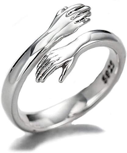 Crazyfly Anello in argento Sterling con abbraccio, regolabile, per uomini, donne e ragazze