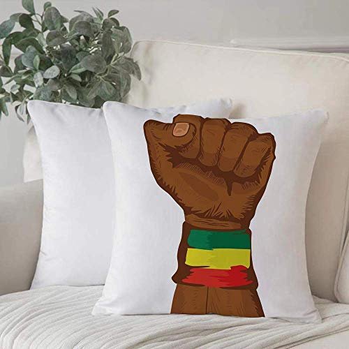 Funda de almohada, funda de cojín Rasta, símbolo de rebelión etíope Muñeca con colores de bandera Lámina decorativa, marrón Decoración del hogar Funda de cojín Cuadrado acogedor para sofá Funda de alm