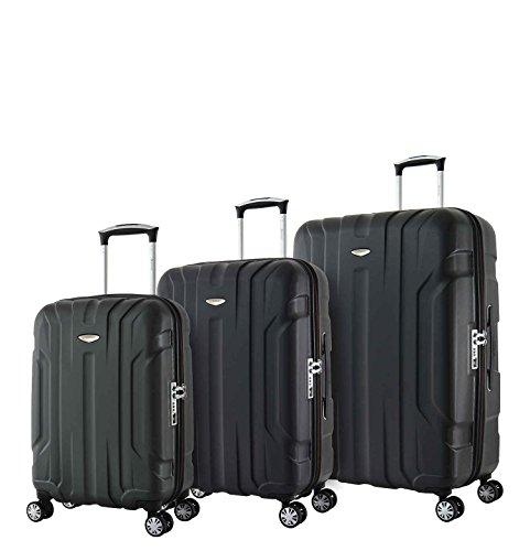 Eminent Koffer-Set X-TEC 3-teilig 1x Handgepäck Koffer Gr. S & je EIN Koffer Hartschale Größe M + L super leicht Anti-Kratz-Hartschale 4 Doppelrollen 360° TSA-Schloss Schwarz