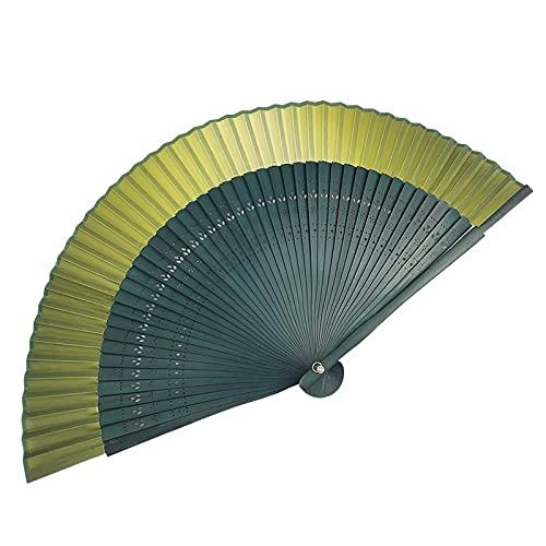 Xushiwanju Accesorios de verano Ventilador Jin plegable estilo antiguo degradado dorado verde verano estilo japonés y abanico hermosas decoraciones