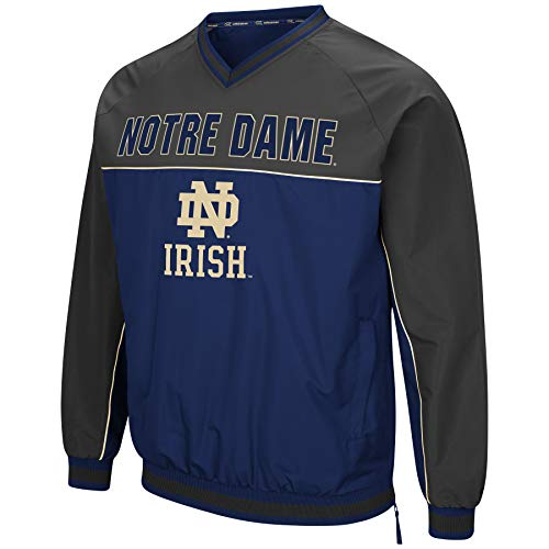 Colosseum NCAA Athletic Herren Windbreaker-Pullover mit Tackle Twill-Stickerei, Notre Dame Fighting, Irish-Navy/Charcoal, Größe L
