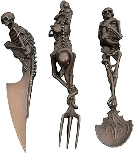 Skull Head Stainless Steel Tableware Kits Fork/Spoon/Knife, Personality Skull Metal Tableware Halloween Party Desktop Decoration (Black) (Gold)