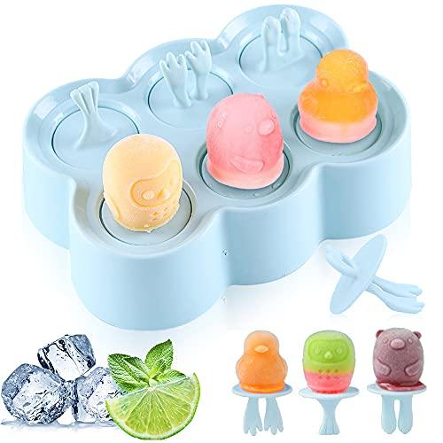 Eisformen, 6 Eisform Eis am Stiel, Klein Eisförmchen Popsicle Formen, Stieleisformer Eislutscher Formen, Mini ABC Eisform für Kinder, Baby (blue-1)