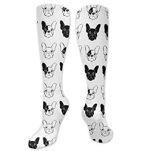 Men Women Boys Girls Novelty French Bulldog Tube Dress Socks Breathable Athletic Sports Compression Socks For Running Nurses Flight Pregnancy