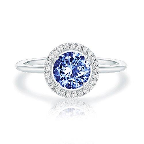 Swarovski Crystal 14K White Gold Plated Birthstone Rings   White Gold Rings for Women   Sapphire Ring