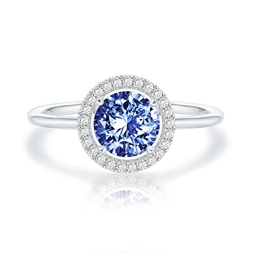 Swarovski Crystal 14K White Gold Plated Birthstone Rings | White Gold Rings for Women | Sapphire Ring
