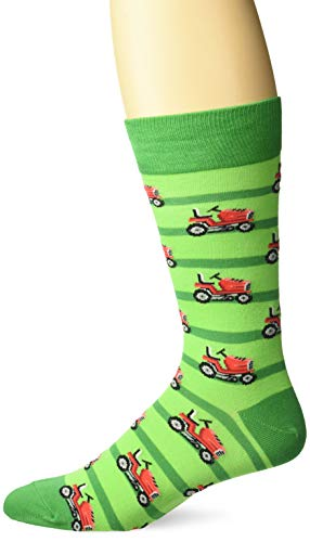 Hot Sox Men's The Outdoors Novelty Crew Socks, Lawnmower (Green), Shoe Size: 6-12
