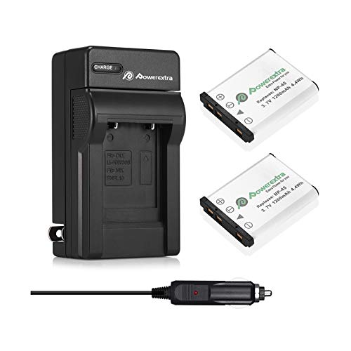Powerextra 2 x NP-45A NP-45B NP-45S Battery and Charger Compatible with Fujifilm INSTAX Mini 90 Fujifilm FinePix XP140 XP130 XP120 XP90 XP80 XP70 XP60 XP50 XP30 XP20 T560 T550 T510 T500 T400 T360