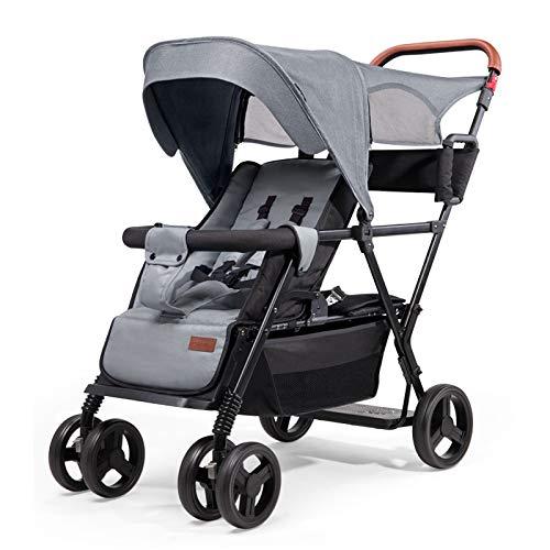 HYZY Babykinderwagens voor en achter, kinderwagens voor en achter, kunnen gaan liggen en zitten in luxe kinderwagens