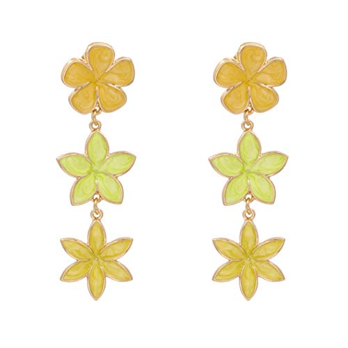 QIN Korean style colorful multicolored flowers hanging ear ring women sweet colorful oil flower long drops earrings wedding jewels