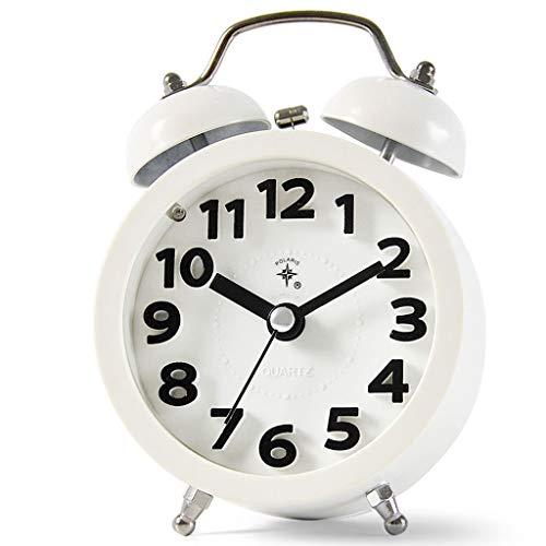 YULAN Reloj Despertador a Color Luz Nocturna Doble Campana Mute Estéreo electrónico Digital Simple Múltiples Funciones Moda Cama Hogar Personalidad Creativa 8.8 CM * 13 CM (Color : White)