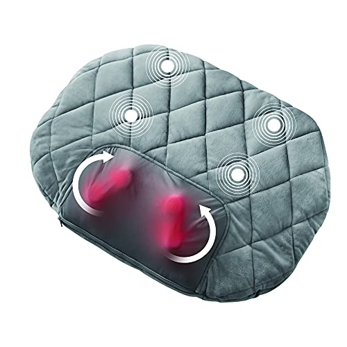 HoMedics Shiatsu and Vibration Body Massager Portable Cushion with 5 Settings, Soothing Heat, Reverse Function, Hand Controller, and 2-Year Warranty