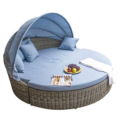 Home Islands Ko Bon Sonneninsel Loungeinsel Polyrattan Daybed Loungebett Gartenmuschel rund mit Sonnendach