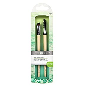 EcoTools Brow Shaping Duo Includes Angled Brush and Spoolie Brush to Create Defined Brow, Natural Brow, Boy Brow Looks