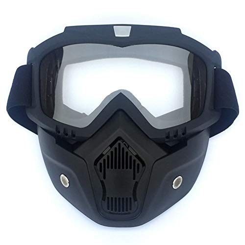 Leoie Outdoor Sports Mask Goggles Men/Women Retro Outdoor Cycling Mask Goggles Snow Sports Skiing Full Face Mask Glasses Vertical Black Frame + Transparent Lens