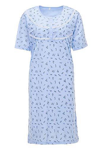 LUCKY Nachthemd Damen Kurzarm Mille Fleurs Blumen Strickbordüre, Farbe:blau, Größe:M