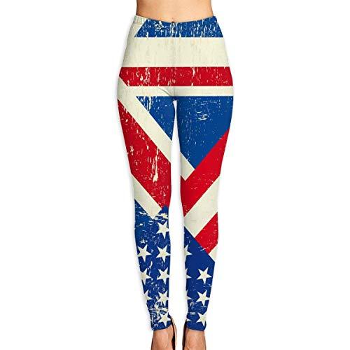 Ewtretr Yoga Pilates Hosen Fitnesshose für Damen, USA and UK Flag Printed Leggings Full-Length Yoga Workout Leggings Pants