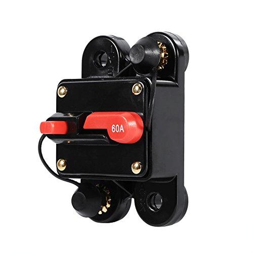 KUIDAMOS Restablecimiento del portafusibles, Buena conductividad eléctrica 12-24 V Disyuntor Uniqu 50 A-100 A para Motores de Arrastre Marinos Barco para ATV Alimentación Manual 12-24 V(60A, 12)