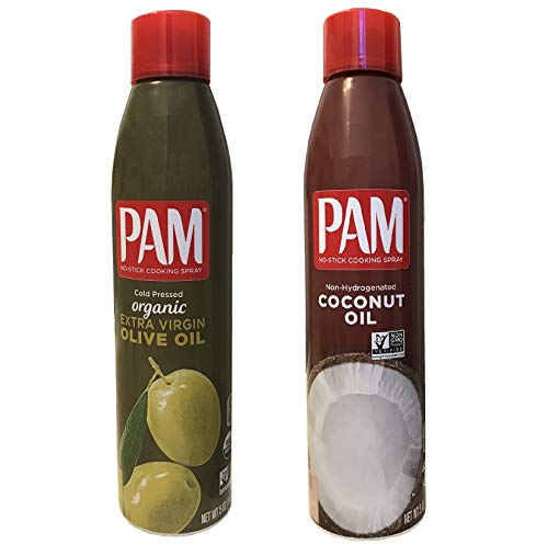 Pam Cold Pressed Organic Extra Virgin Olive Oil and Pam Non-Hydrogenated Coconut Oil Non-Stick Cooking Spray Set