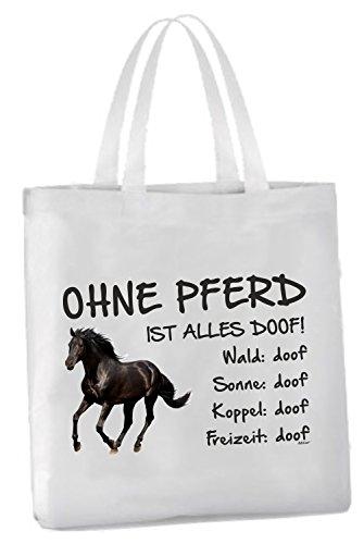 AdriLeo Einkaufstasche Ohne Pferd ist Alles doof! (Rappe)