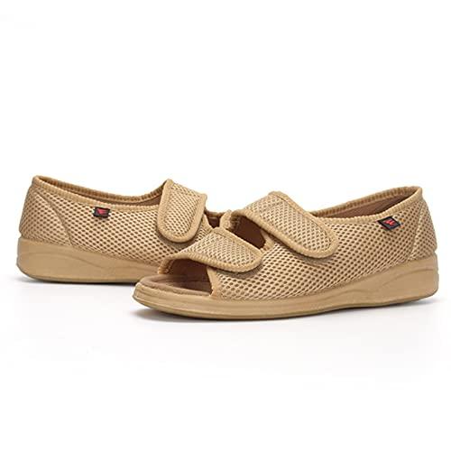 Zapatos Diabéticos Para Mujeres, Sandalias Ligeras De Malla Para Mujeres, Calzado Para Mujer Para Pies Hinchados, Zapatos De Artritis De Cojines De Aire Para Mujeres, Aptos Para L(Size:37,Color:Caqui)