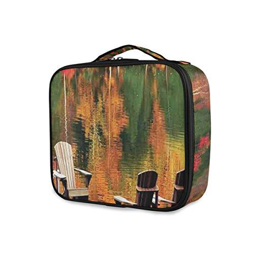 SUGARHE Chaises sur Un Quai en Bois vibrent Couleur Automne forêt réflexion lac Vue,Sac cosmétique Multifonctionnel La beauté