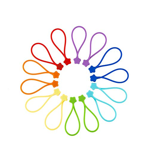 Fironst 14 Pack Reusable Silicone Magnetic Cable Ties/Magnetic Twist Ties for Bundling and Organizing, Holding Stuff, USB Charging Cords, Fridge Magnets, Cord Keeper Winder, or Just for Fun