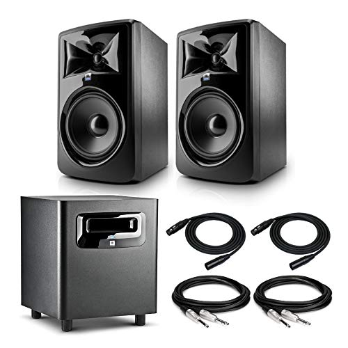 JBL 308P MkII Powered 8' Two-Way Studio Monitors (Pair) Bundled with JBL LSR310S Powered Subwoofer, 2 TRS and 2 XLR Cables (7 Items)