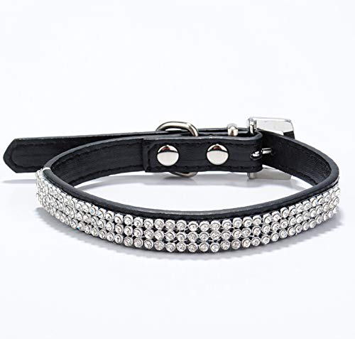 haoyueer Bonito collar de piel sintética brillante y elegante con diamantes de imitación de cristal, para mascota, gato, perro, cachorro, (S, negro)
