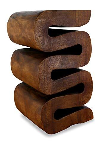 livasia Geschlängelte Massivholzsäule aus Thailand, Beistelltisch/Hocker als Blumensäule, asiatisches Podest aus Massivholz