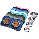 Vivaglory Dog Bowls Stainless Steel Water and Food Bowl Pet Cat Feeder with Non Spill Skid Resistant Silicone Mat, Medium, Navy Blue