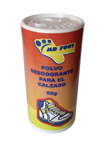 Desodorante en Polvo para el calzado MD FOOT. Pack de 4 unidades de 50g. Elimina el olor de pies.