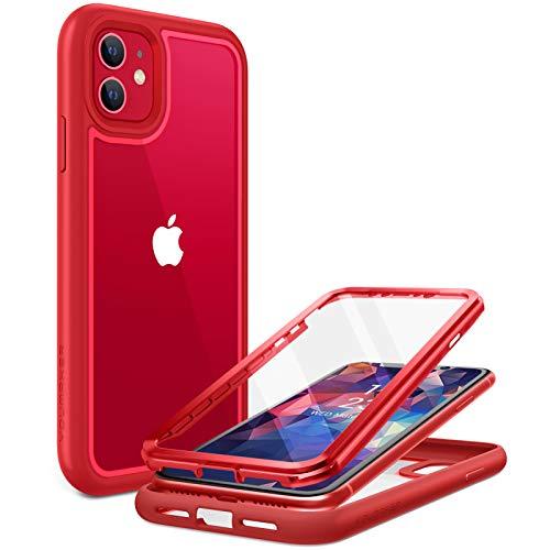 YOUMAKER transparent Handyhülle für iPhone 11 hülle Crystal Schutzhülle Schützen Hardcase mit integrierter Displayschutzfolie für iPhone 11 6.1 Zoll (2020) -rot